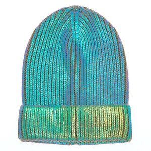Ribbed Holographic Unicorn Metallic Beanie
